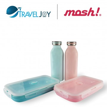 MOSH Vacuum S/Steel Bottles (450ml)+FREE Travel Joy Silicone Foldable Lunch Box  (1200ml) @ $39.90 UP $57.80 (Available in 2 colour-sets)