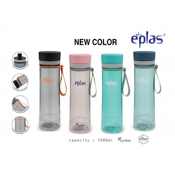 EPLAS EGHT 1000 BPA-FREE WATER BOTTLE (1000ML) - CLEAR BOTTLES ( AVAILABLE IN 4 COLOURS) NEW!
