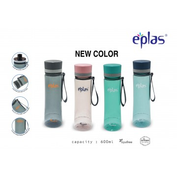 EPLAS EGHT 600 BPA-FREE WATER BOTTLE (600ML) - CLEAR BOTTLES ( AVAILABLE IN 4 COLOURS) NEW!