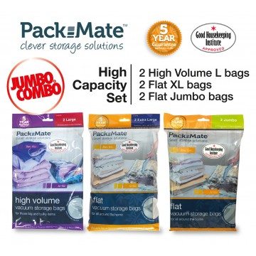 Packmate Jumbo Combo  High Capacity Value Pack 6-Vacuum Storage Bags NOW at $49.90 UP $95.70 (Save 48% / $45.80)
