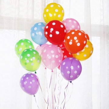 Party Fete Party Balloon with White Dots (10s in a pack )  - Available in 4 prints