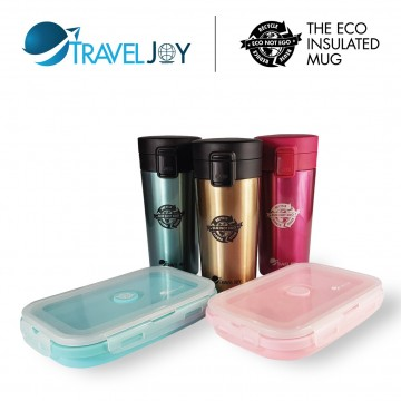 TRAVEL JOY ECO THERMAL MUG (380ML) + FREE TRAVEL JOY ECO SILICONE FOLDABLE LUNCH BOX (800ML)   WORTH $15.90 EACH - Available in 3 colour-sets