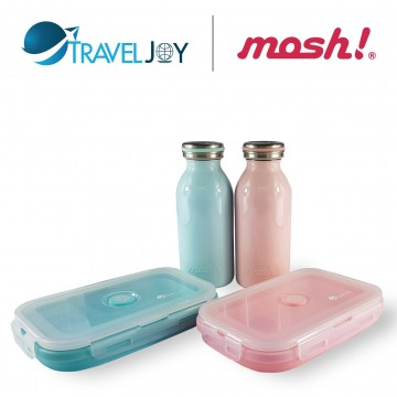 MOSH Vacuum S/Steel Bottles (350ml)+FREE Travel Joy Silicone Foldable Lunch Box  (800ml) @ $31.90 UP $47.80