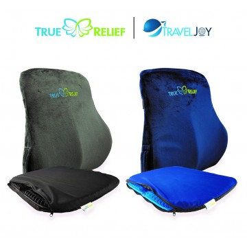 True Relief Value Combo Set  -True Relief Memory Foam Lumbar Support + Honeycomb Cooling Gel Seat Cushion @ $90 (UP $119.80) . Available in 2-colour sets