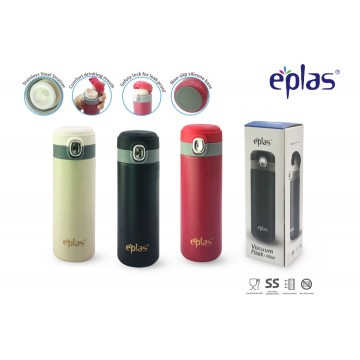 Eplas Stainless Steel  Flip Top Vac Bottle (400ml) - Available in 3 colours