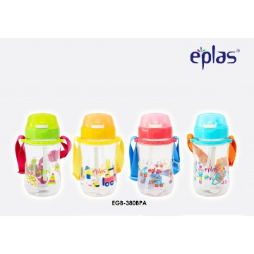 Eplas Kids' bottle with Push Botton, Straw & Removable Strip (380ml) - Available in 4 colours