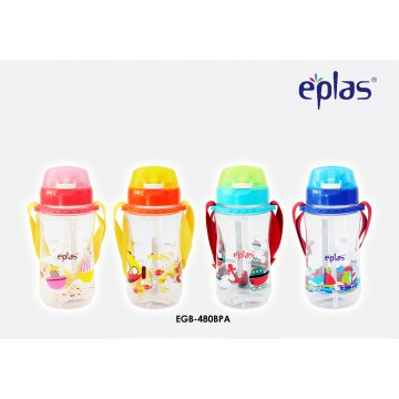 Eplas Kids' bottle with Push Botton, Straw & Removable Strip (480ml) - Available in 4 colours
