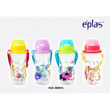 Eplas Kids' bottle with Push Botton, Straw & Removable Strip (580ml) - Available in 4 colours