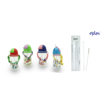 Eplas EGBP 480 (480ml) Kids Bottle with straw + FREE Pack of Eplas Replacement Straw & Brush Set (Worth $7.90)