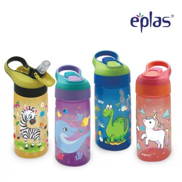 Eplas Kids Cartoon Water Bottle With Straw and Handle, 550ML, BPA Free (EBSP-550) - Available in 4 colours