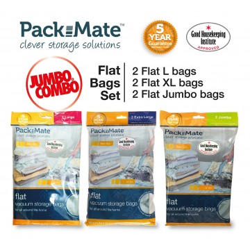 Packmate Jumbo Combo Flat Value Pack 6-Vacuum Storage Bags NOW at $45.90 UP $91.70 (Save 50% / $45.80)