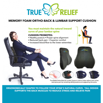 True Relief Memory Foam Ortho-Back & Lumbar Support (Available in 3 Colours)