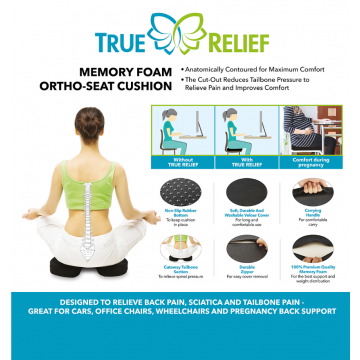 True Relief Memory Foam Ortho- Seat Cushion (Available in 3 Colours)